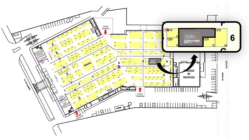 Apas Show 2021 Mapa - Localização da MasterInt e do CECIEx